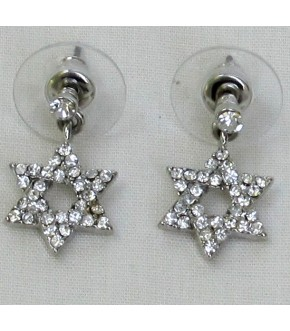 CRYSTAL STAR OF DAVID POST EARRINGS