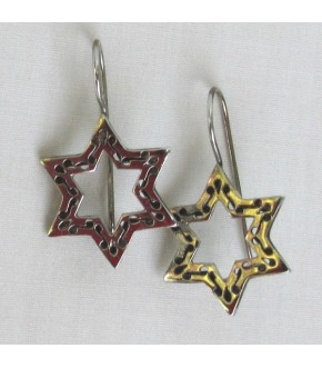 OPEN ORNATE STERLING SILVER STAR OF DAVID EARRING
