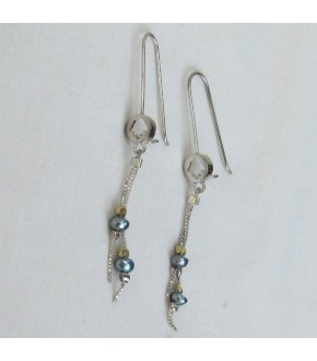 CUT OUT HAMSA WITH GRAY PEARLS DROP EARRING