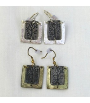 PEWTER TREE OF LIFE TWO TONE EARRINGS