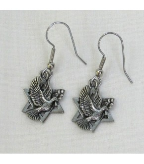 SILVERTONE DOVE STAR EARRING