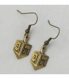FRENCH WIRE 2 SIDED GOLDTONE DREIDEL EARRINGS