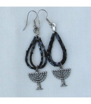 BEADED HOOP W MENORAH CHARM EARRINGS