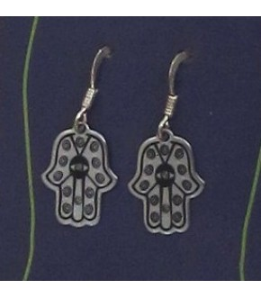 PEWTER HAMSA EARRINGS