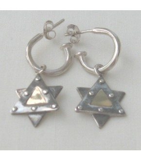 OXIDIZED STAR WITH 14K GOLD EARRINGS