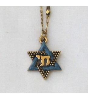 ENAMELED GOLDTONE METAL STAR WITH CHAI NECKLACE