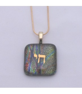 CHAI ON IRIDESCENT FUSED GLAS W/ 14K GOLD PLATED NECKLACE