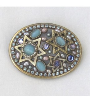 GOLDTONE SEAFOAM CATS EYE / AQUA CRYSTAL STARS OF DAVID PIN