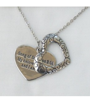 SONG OF SOLOMON SLIDING HEART SILVERTONE NECKLACE