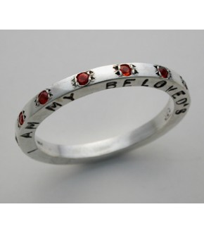 STERLING SILVER WEDDING BAND WITH GARNETS