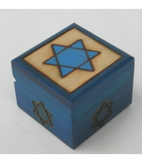 BLUE STAR ON BEIGE BACKGROUND SQUARE MINI STAR OF DAVID BOX