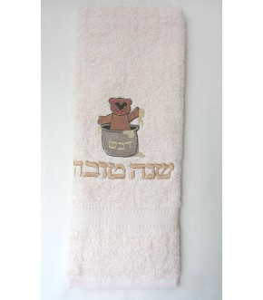 EMBROIDERED BEAR HONEY BEIGE TERRY KITCHEN TOWEL