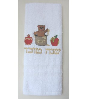 EMBROIDERED BEAR HONEY APPLE WHITE TERRY TOWEL