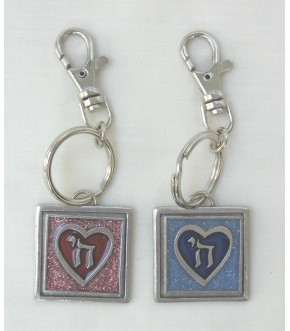 CHAI IN HEART PEWTER KEYCHAIN
