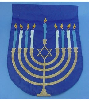 DOUBLE SIDED EMBROIDERED MENORAH FLAG