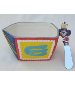 DREIDEL BOWL AND SPREADER SET