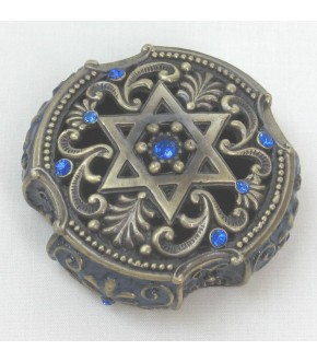 ANTIQUE BRASS STAR OF DAVID MAGNETIC COLLECTORS BOX