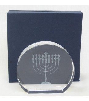 LASER CHANUKAH MENORAH CRYSTAL SCUPTURE