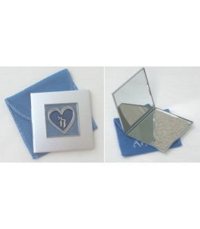 CHAI BLUE HEART MIRRORED PURSE COMPACT