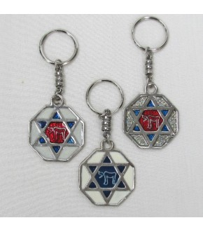 ASSORTED JEWISH SYMBOL KEYCHAINS sold in packs of 12