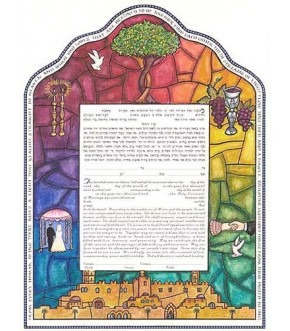 STAINED GLASS KETUBAH BY MIRIAM KARP