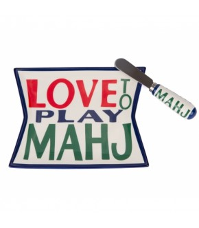 LOVE TO PLAY MAHJ DISH AND SPREADER