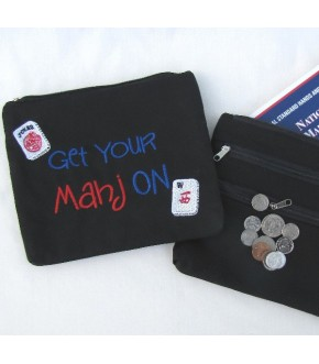 EMBROIDERED CANVAS GET YOUR MAHJ ON BAG