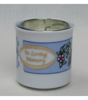FLORAL DESIGN CERAMIC MEMORIAL CANDLE