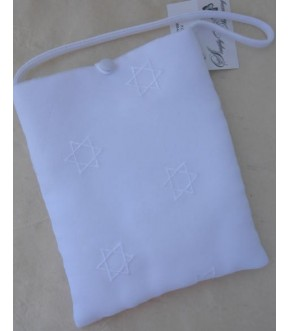 EMBROIDERED STARS OF DAVID ORGANZA WEDDING BAG
