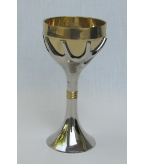 TWO TONE SILVERPLATE BRANCH DESIGN KIDDUSH CUP