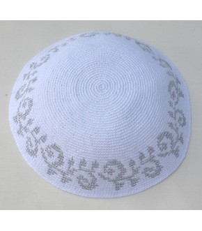 ELEGANT SILVER METALLIC THREAD SCROLL EDGE WHITE KNIT KIPPAH