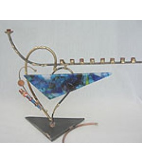 ROSENTHAL METAL HEART SCULPTURE BASE W/FUSED GLASS AND GLASS TUBE MENORAH
