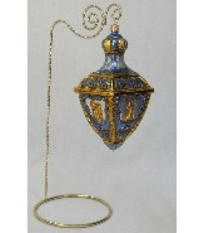 BLUE AND GOLD POLONAISE DREIDEL ORNAMENT