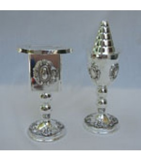SILVER PLATE BAROQUE SPICE AND CANDLEHOLDER