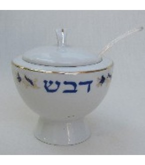 COVERED WHITE HONEY POT W SPOON