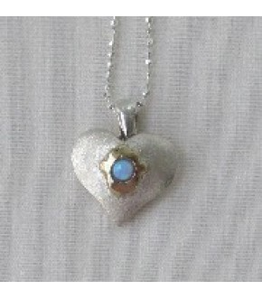 STERLING SILVER HEART W/ 14K GOLD HAMSA AND OPAL NECKLACE