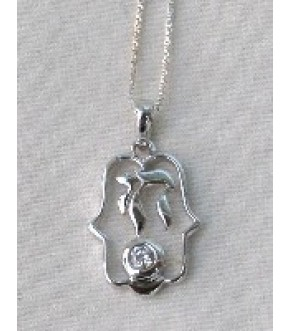 HAMSA WITH CHAI STERLING NECKLACE