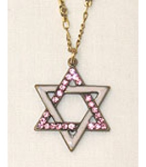 ENCRUSTED AND PINK ENAMEL STAR OF DAVID NECKLACE