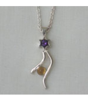JEWELED STAR WITH SWEEPING TAIL STERLING NECKLACE