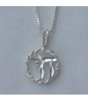STERLING SILVER CIRCLE WITH CHAI NECKLACE