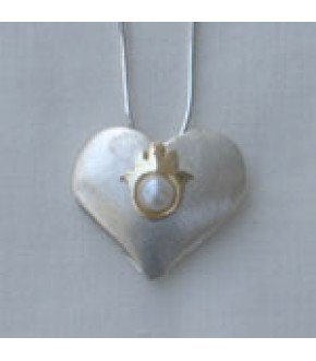 STERLING SILVER MATTE HEART W/ 14K GOLD HAMSA AND PEARL NECKLACE