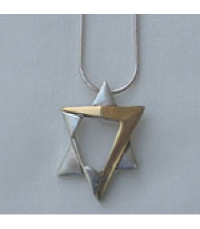 CONTEMPORARY 14K GOLD AND STERLING SILVER STAR NECKLACE