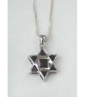 POLISHED STERLING SILVER STAR OF DAVID W BLACK CRYSTALS