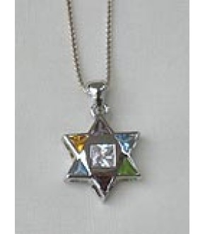 POLISHED STERLING STAR OF DAVID W/MUTLTI CRYSTALS