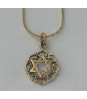 GOLD TONE LACEY STAR OF DAVID NECKLACE