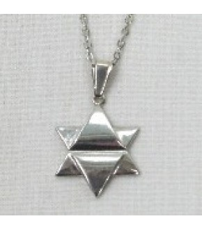 STERLING SILVER CONCAVE MIDDLE STAR OF DAVID NECKLACE