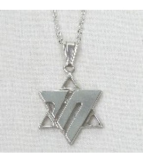 STERLING SILVER ABSTRACT CHAI IN STAR OF DAVID NECKLACE