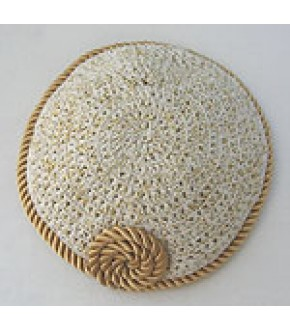 GOLD SATIN ROPE TRIMMED BEIGE W/ GOLD METALLIC THREAD KNITTED KIPPAH