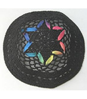 BLACK KNIT W/ BRIGHT MULTI RIBBON KIPPAH