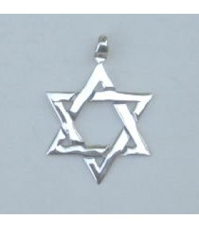 LARGE POLISHED STERLING SILVER STAR OF DAVID CHARM